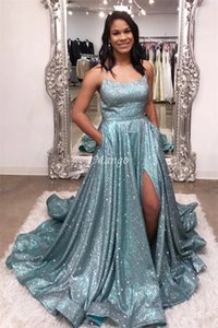 Glitter 2020 Evening Dresses With Side Split Spaghetti Straps Corset Back A-Line Shiny Formal Prom Party Gowns Robe De Soriee