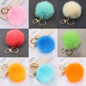Charms Furry Pom Pom Keychain Keyholder Circle sfera della pelliccia Portachiavi cordicella Hairballs portachiavi Pompom fascini di modo carino Portafogli Car 2 45zg C2