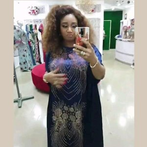 New African women's Dashiki Fashion loose design Hot drilling big pendulum robes Long dress free size