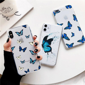 For iphone 6s Plus xs max Blue Butterfly Aesthetic Premium Phone Case For iPhone 7 8 Plus X XR 11 Clear Butterfly Cases Cover
