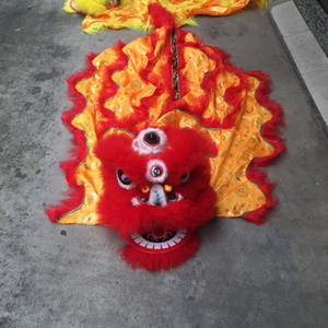 Lion Dance kids Halloween party mascot Costume pure wool chinese Folk Oriental Style Fairy Clothing Traditional Performance costume SKA