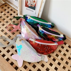 Children's running fashion stitching crossbody chest bag mermaid sequins sequins cartoon cute mini girl bag