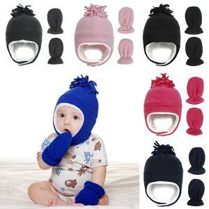 Baby-Winter-Hut Warm Ohrenwärmer Ushanka mit Handschuhen im Freien Polar Fleece-Mütze New 2020 Jungen-Mädchen-Mütze