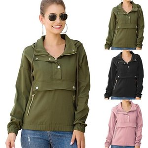 Neck Loose Coat Famale Pure Color Jacket Women Casual Jacket Autumn Long Sleeve Pullover Hooded Lapel