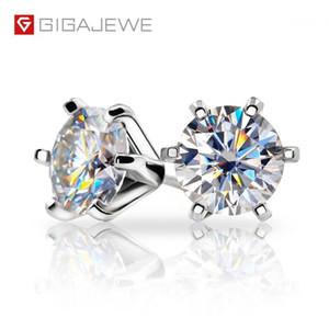 Pendientes montón GIGAJEWE EF VVS1 corte redondo 2.0ct total Prueba de diamantes pasaba Moissanite 18K plateó el pendiente de plata 925 joyería girlf ...