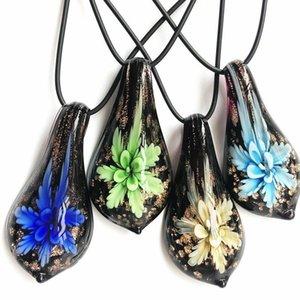 4pcs follaje mixto en forma de perfume de cristal colgante collar de cristal 54 * 27MM de la joyería de moda collar de cristal colgante