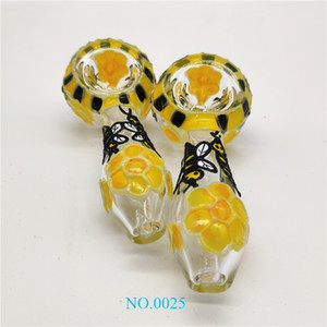 Popular Glass Pipe Hot Sale Luminous Yellow Flowers Bee Colored Hand Pipe uu yy