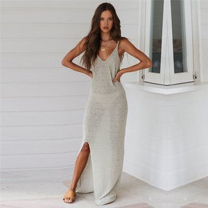 2020 Sexy Swimwear Bikini Cover Up Thin Strap Knitted Women Beach Tunic Dress Long Split Mesh Bikinis Cover-Ups Beach Wear Pareo Y200706