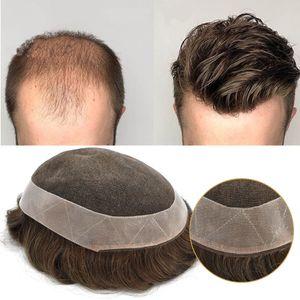 Hombre Toupees 100% Sistema de reemplazo de cabello humano Poli Transpirable Frente de encaje Alrededor Pelucas de encaje transparente 100% Atado a mano