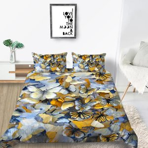 Borboletas cama Set Rei elegante 3D criativa edredão Cover Girls rainha gêmeo completa Individual Duplo projeto original macia Set Bed