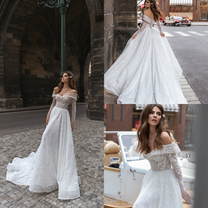2020 A Line Wedding Dresses Off Shoulder Bridal Gowns Lace and Tulle Wedding Gown Sweep Train Beach Vestidos De Novia
