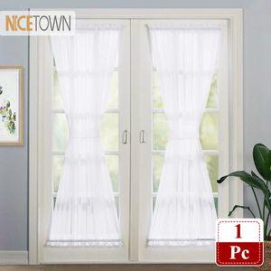 Porte Nicetown Bianco francese tende a pannello Elegante Solid Voile Porte a vetri tendaggi Curtain One Piece con Bonus Tieback T200711