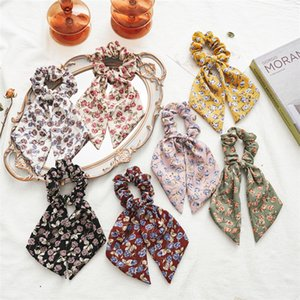 Sweet Floral Girls Scrunchies Women Girls Solid Hair holder Kids Elastic Hair band Girls rose printed chiffon ribbon Hairband V074