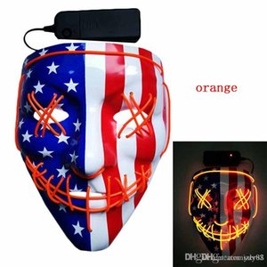 Hot Selling Halloween LED Light Mask Creative Light Up Party Neon Cosplay Costume Tools Party Horror Glowing Dance Masks DHL Free Shipping