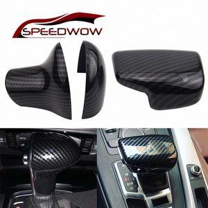 SPEEDWOW ABS Carbon Fiber Gear Shift Knob Cover Cap Sticker Trim For A3 8V S3 A4 B8 A5 A6 C7 S6 A7 S7 A8 Q5 2009 2016 Gear Knob Gear K BGa0#