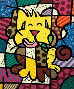 BRITTO ROMERO « MEILLEUR AMI » CHIEN Home Décor peint à la main peinture à l'huile sur toile mur toile Photos 200528