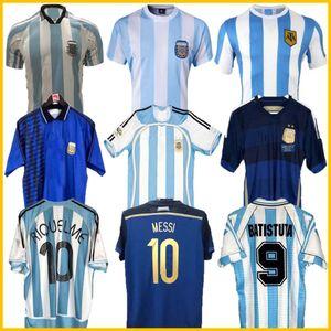 Retro Version 1986 Argentinien Home Trikot Messi Maradona Caniggia 1978 Qualitäts Fußball-Hemd Batistuta 1998