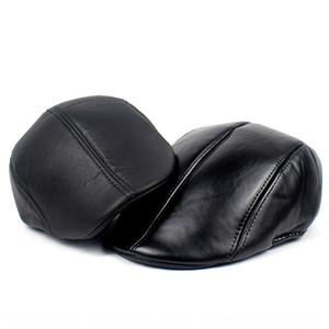 Black matte bright leather PU beret men's Beret hat leather cap warm old man's hat forward cap
