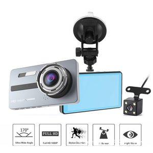 A10 듀얼 렌즈 자동차 대시 캠 1080P 대시 보드 카메라 3.6 인치 렌즈 HD 나이트 비전 자동차 운전 DVR 레코더 모니터