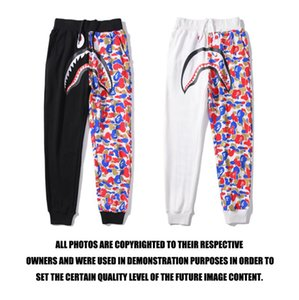 H8752# High Quality Tide Brand Shark Head Double Colorblock Camouflage Trousers Black & White M~2XL