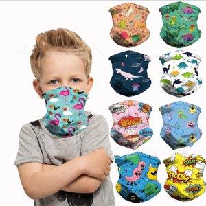 Masques enfants Cartoon Dinosaur Flamingo masque facial extérieur Vélo écharpe magique Bandeau Neck Gaiter Balaclava Turban anti-poussière Masque LSK459