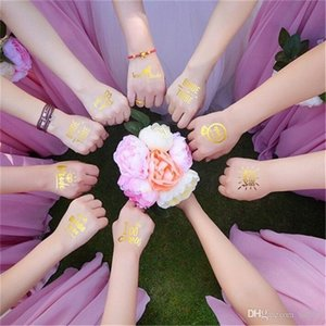 Bride Tattoo Stickers Golden Flash Flamingo Pineapple Wedding Decor Bride Single Party Supplies Photo Props Ornaments 0 65hj bb