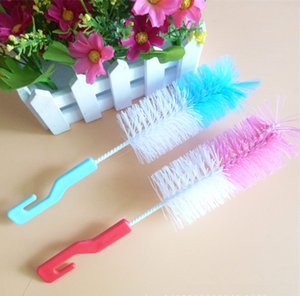 baby Milk Bottle Cleaning Brush With Hook Mix Colors Convenient Water Bottles Brush Feeding Water Cup Brush KHA313