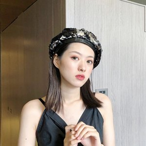 Western homemade Korean Painter's hat beret summer Women fashion sequins beret versatile thin painter hat fashion