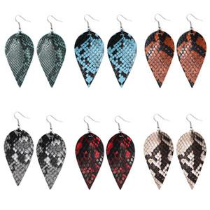 Fashion PU Leaf Leather Dangle Earrings For Women Snake Skin Pattern Multi Colors Leather Bohemia Double Side Hook Earrings Jewelry