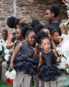 Cute Mini Black Flower Girl Dresses For Wedding Formal Occasion Little Girls Pageant Dress Ruched Short First Holy Communion Party Dresses