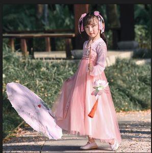 Girls 2020 Hanfu Autumn fairy Super Fairy pink flower embroidered Princess dress Embroidered princess dress baby girl Hanfu