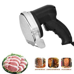 Elektrikli Kebap Dilimleme Döner Bıçağı Shawarma Kesici el kızartma Et kesme makinesi Gyro Bıçak 220-240V 110V İki bıçakları