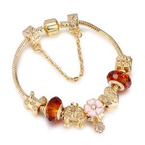 Fashion Jewelry gold plated DIY Women Charm Bracelet Trendy Big Crystal Beads copper Bangle bracelets for Women