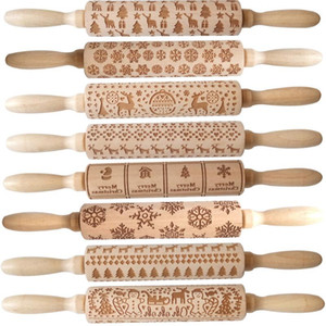 Embossing Christmas Rolling Pin ECO Wooden Christmas Engraved Carved Embossing Rolling Pin Dough Stick Baking Kitchen Pastry Tool LX2434