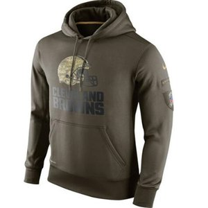 Cleveland New Style Browns Mens Women Youth Authentic Sweatshirt Vintage Olive Salute To Service KO Performance Hoodie