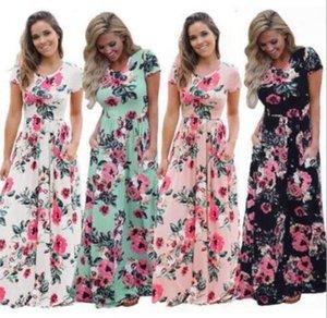 Nouveau Designer Dressess été femme imprimé floral robe à manches courtes Boho SOIRÉE Robe longue Maxi Dress Fashion Robe Vêtements 5 Couleur