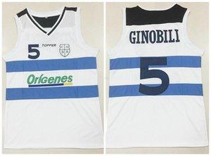 Custom Made # 5 MANU Ginobili TEAM ARGENTINIEN Weiß Retro klassischer Basketball Jersey Mens genähtes Nummer und Name Trikots Größe 2XS-4XL