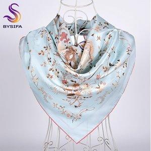[BYSIFA] New Blue Foulard en soie Châle 2019Top année grue blanche conception Twill grandes Foulards carrées Automne Hiver cou Foulard Hijab 90cm CX200728