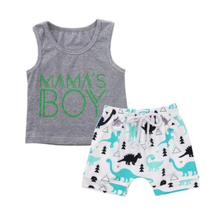 Toddler Baby Boy 6M-4T Clothes Cartoon Dinosaur Print Sleeveless Cotton Vest Tops Short Pants 2Pcs Outfits Clothes Summer Set