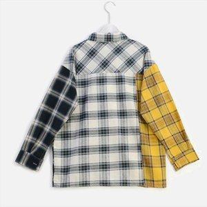قميص منقوش تباين الألوان المرقعة المرأة بلوزة بلايز الهيب هوب كم طويل لصق قمصان 2020 الخريف الصيف بلوزات أنثى
