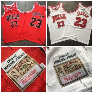 Uomini ChicagonbaBullsMichaelJrdan Mitchell Ness Bianco Rosso 1996-1997 HardwoodClassici autentica Player Maglie Jersey