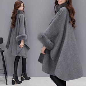 Mazefeng 2020 New Women Winter Womens Cloak Big Fur Collar Plus Size Wool Coats Female Long Winter Jackets Parka Coats Outerwear