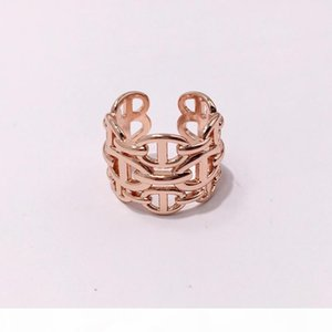 P Fashion Titanium Steel Rose Gold Silver Open H Rings For Women Men Love Ring Party Wedding Valentine &#039 ;S Day Gift Jewelry Wholes