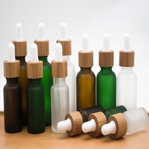 10ml 15ml 20ml 30ml Bouteille en verre givré clair Dropper avec Bambou Couvercle Cap Essential Bouteille en verre givré huile vert EEA1817