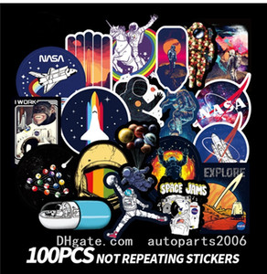 100pcs Lot Wholesale Universe NASA Space Cartoon Stickers No-Duplicate Waterproof Sticker Laptop Skateboard Notebook Luggage Car Decals