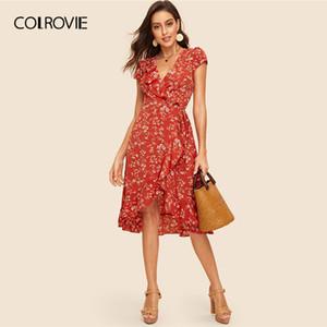 COLROVIE Rust Floral Imprimir Ruffle guarnição Vestido Envelope Mulheres 2020 Verão, Profundo V Neck Ladies Boho Fit e reflexos cintura alta vestido Midi
