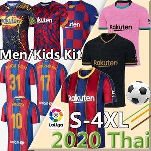 футбол Джерси FC BARCELONA 20 21 Camiseta де Futbol ANSU FATI 2020 2021 Месси Griezmann де Йонг Maillots де футбол рубашки мужчин + детский набор