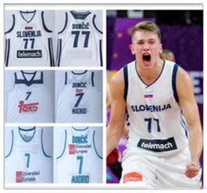 2019 Eslovenia 77 Doncic cosido jerseys del baloncesto Luka # 7 Slovenija Real Madrid campeón de la Euroliga 100% bordado