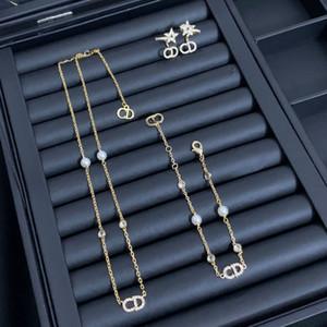 CD letter pearl necklace female Dijia Net red high version bracelet CD ear clip earring