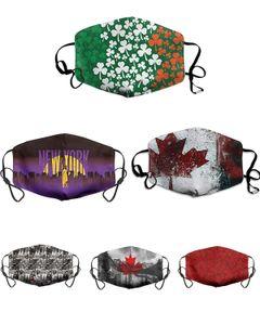 Tasarımcı Yüz Lucky Clover Dijital Spor Cadılar Bayramı Partisi Ayarlanabilir yüz maskeleri Yeniden kullanılabilir Toz Sıcak Windproof Şenlikli Filtreli maske